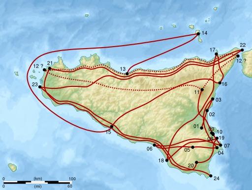 Carte des trajets de Cérès en Sicile