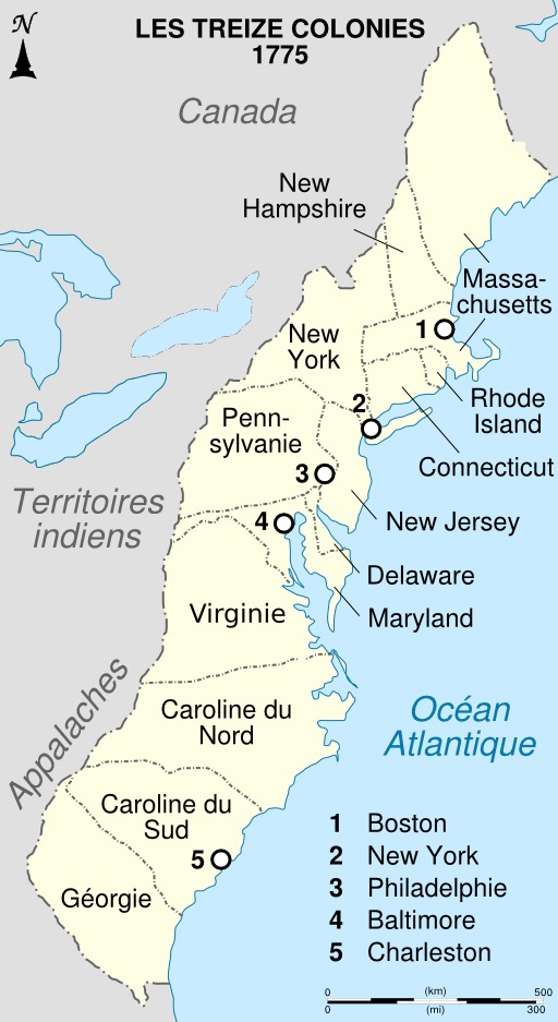 Carte des treize colonies anglaises en Amérique du Nord