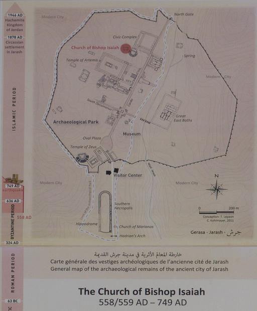 Carte des vestiges de l'ancienne cité de Jerash