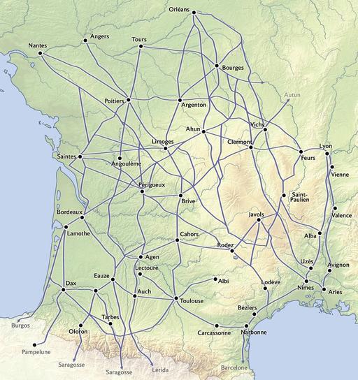 Carte des voies romaines en Aquitaine