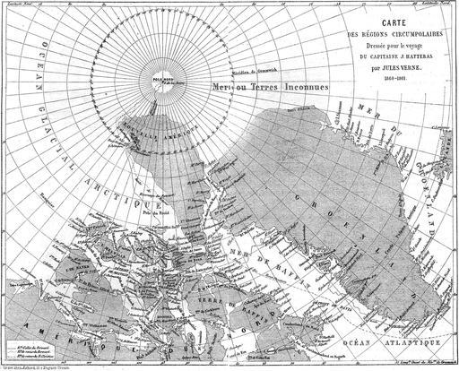 Carte des voyages du Capitaine Hatteras, de Jules Verne