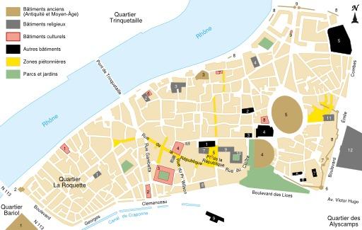 Carte du centre-ville d'Arles