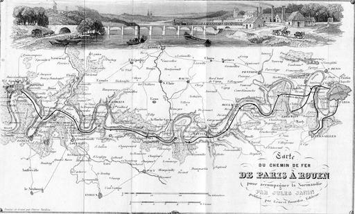 Carte du chemin de fer Paris-Rouen
