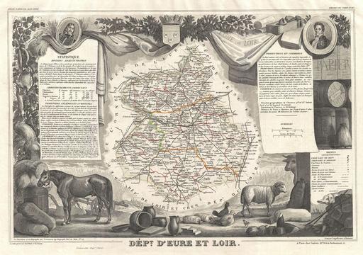 Carte du département d'Eure-et-Loir en 1852
