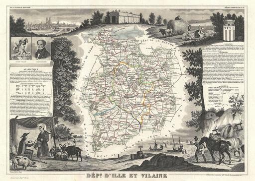 Carte du département d'Ille-et-Vilaine en 1852