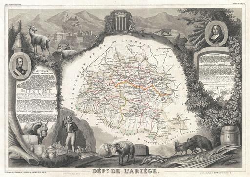 Carte du département de l'Ariège en 1852