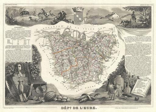 Carte du département de l'Eure en 1852