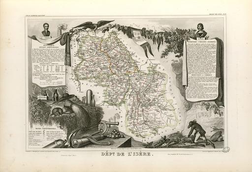 Carte illustrée du département de l'Isère en 1852