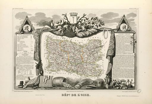 Carte illustrée du département de l'Oise en 1852
