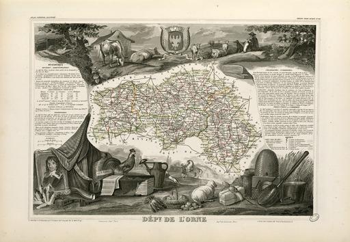 Carte illustrée du département de l'Orne en 1852
