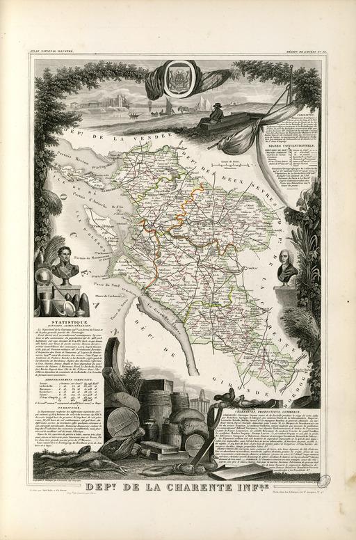 Carte illustrée du département de la Charente-Inférieure en 1852