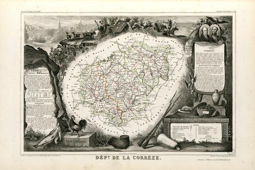 Carte illustrée du département de la Corrèze en 1852