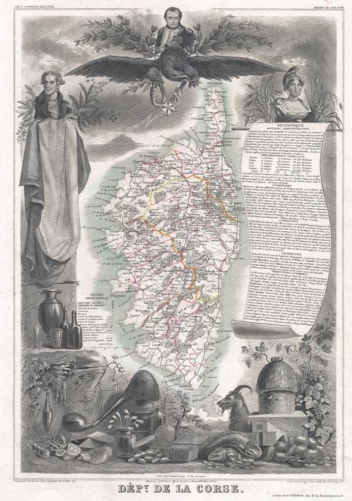 Carte du département de la Corse en 1852