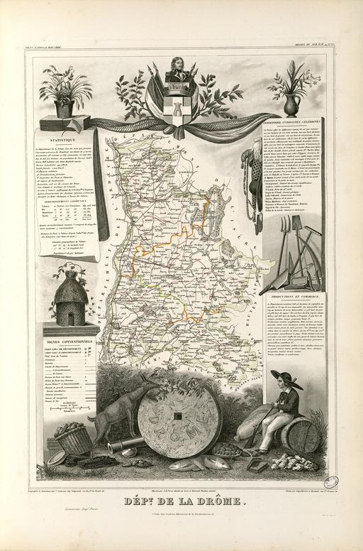 Carte illustrée du département de la Drôme en 1852