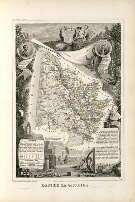 Carte illustrée du département de la Gironde en 1852