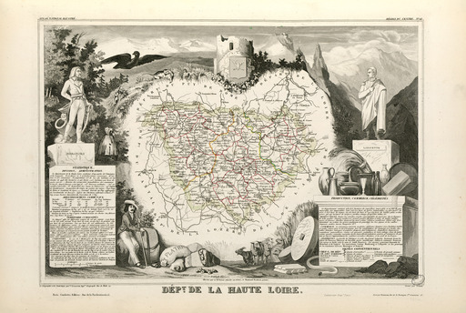 Carte illustrée du département de la Haute-Loire en 1852