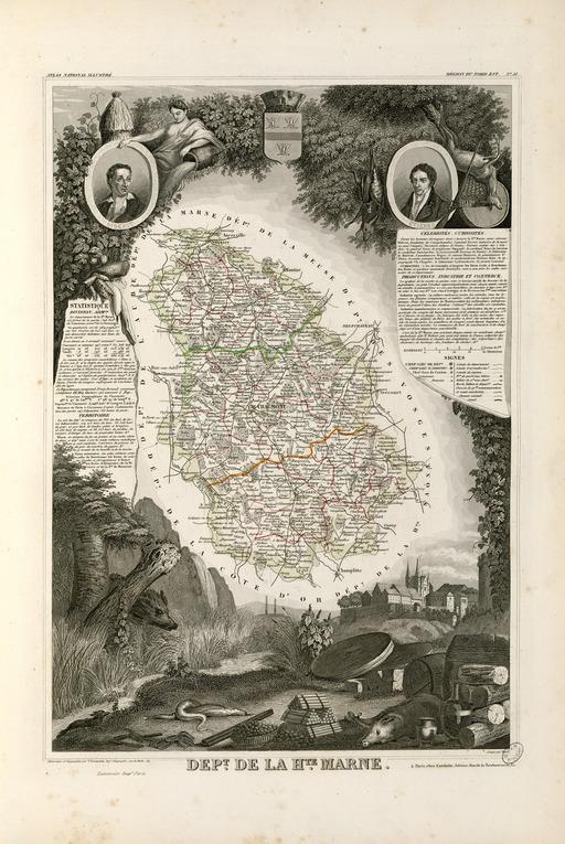 Carte illustrée du département de la Haute-Marne en 1852