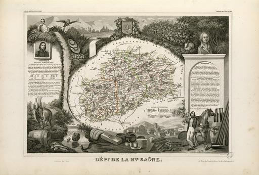 Carte illustrée du département de la Haute-Saône en 1852