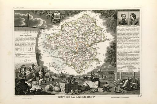 Carte illustrée du département de la Loire-Inférieure en 1852