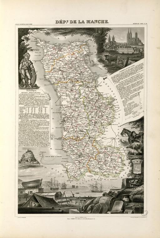 Carte illustrée du département de la Manche en 1852