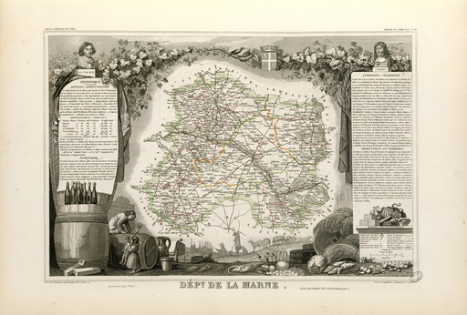 Carte illustrée du département de la Marne en 1852