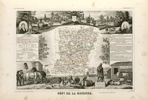 Carte illustrée du département de la Mayenne en 1852