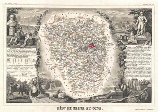 Carte du département de Seine-et-Oise en 1852