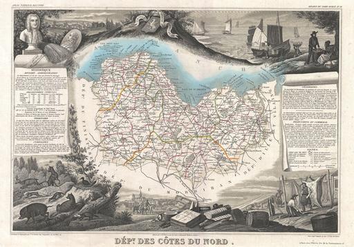 Carte du département des Côtes-du-Nord en 1852