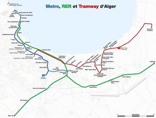 Carte du métro d'Alger