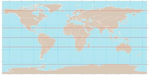 Carte du monde avec plusieurs parallèles