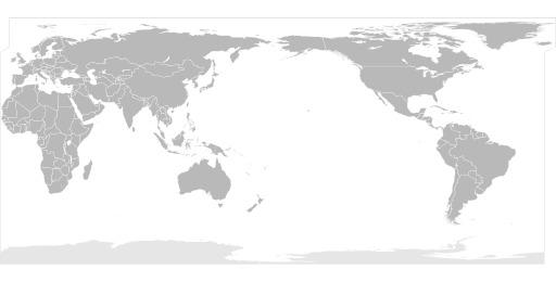 Carte du monde centrée sur le Pacifique