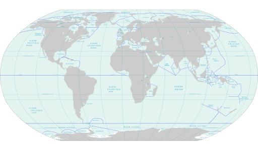 Carte du monde des mers et des océans