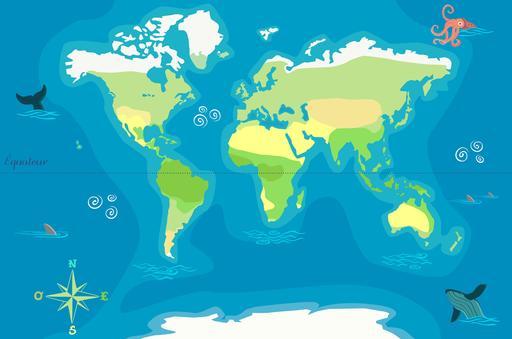 Carte du monde vierge avec l'Équateur