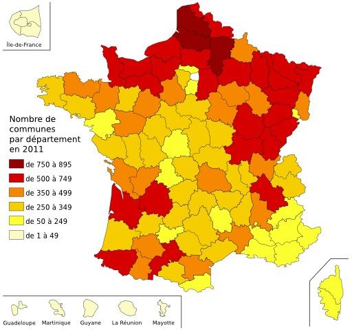 Carte du nombre de communes par département