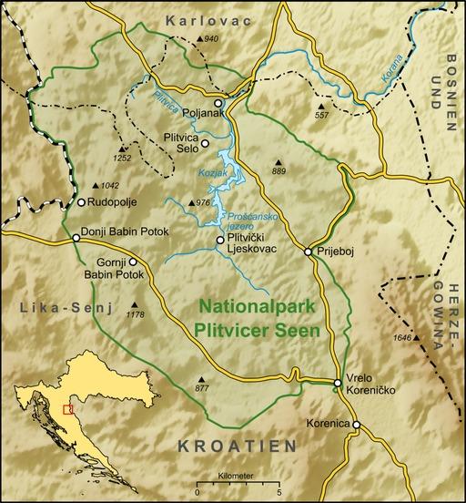 Carte du parc national de Plitvice en Croatie