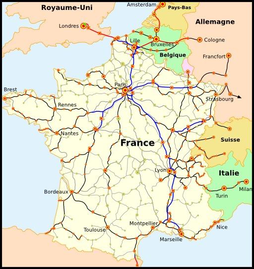 Carte du réseau de chemins de fer
