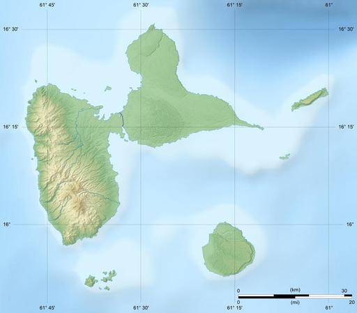 Carte en relief du département de la Guadeloupe