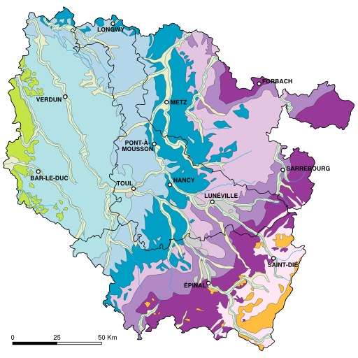 Carte géologique de la Lorraine