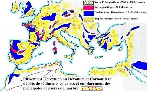 Carte géologique des marbres méditerranéens