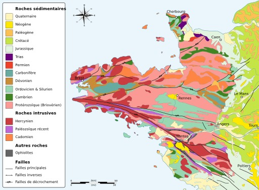 Carte géologique du Massif Armoricain