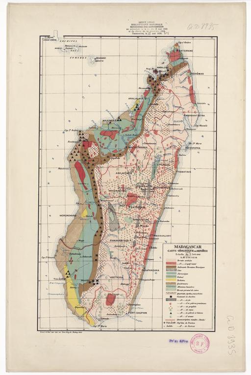 Carte géologique et minière de Madagascar en 1922
