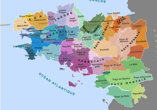 Carte historique des pays de Bretagne