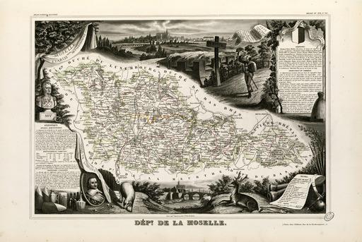 Carte illustrée du département de la Moselle en 1852