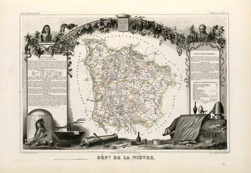Carte illustrée du département de la Nièvre en 1852