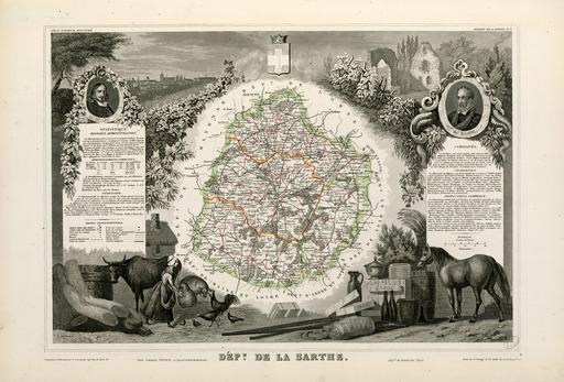 Carte illustrée du département de la Sarthe en 1852