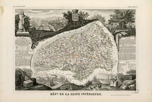 Carte illustrée du département de la Seine-Inférieure en 1852