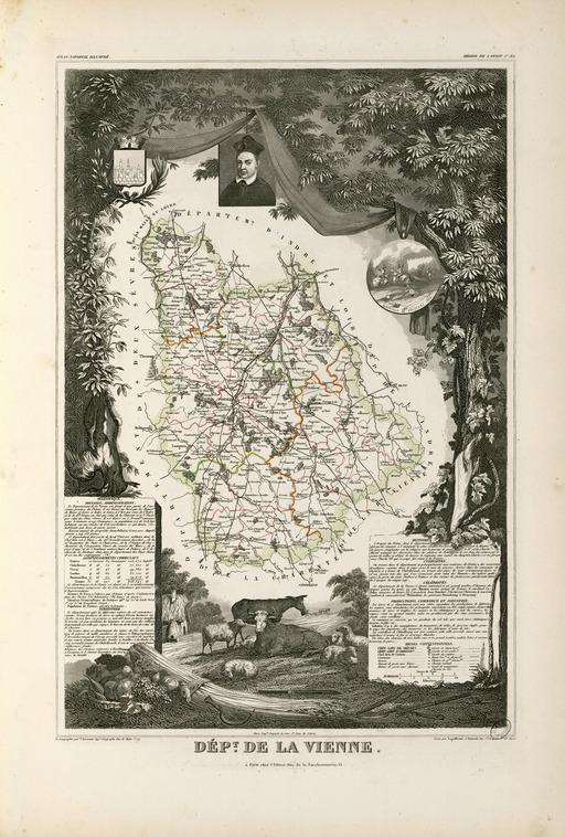 Carte illustrée du département de la Vienne en 1852