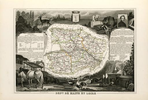 Carte illustrée du département de Maine-et-Loire en 1852