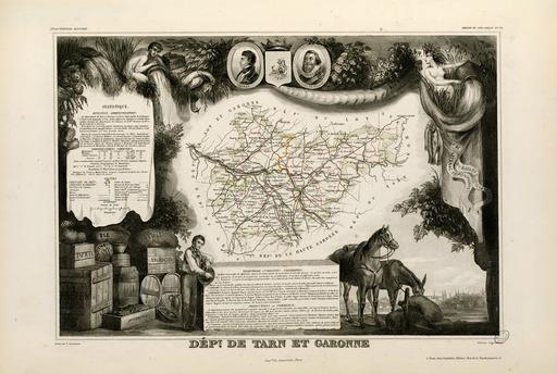 Carte illustrée du département de Tarn-et-Garonne en 1852