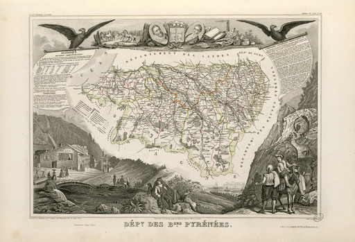 Carte illustrée du département des Basses-Pyrénées en 1852